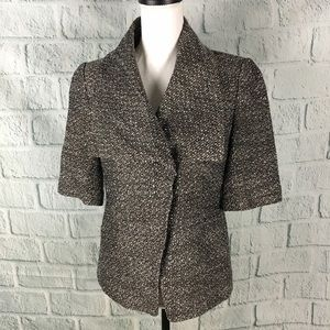 Ann Taylor Short Sleeve Boucle Knit Blazer Jacket